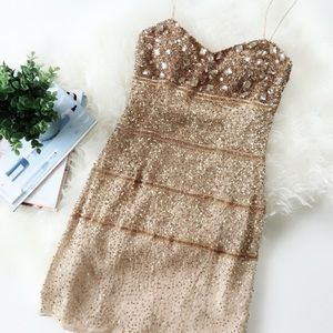 Aidan Mattox Beaded Mini Gold Dress
